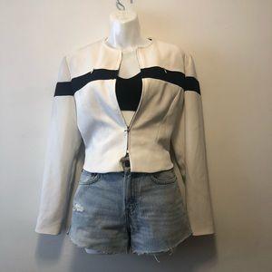 Vintage White Crop Blazer Jacket